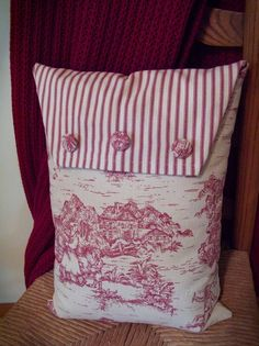 toile pillow with ticking
