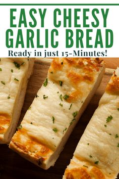 Easy Cheese Garlic Bread is the perfect appetizer or side dish! This homemade loaf recipe is quick to put together, is super tasty, and is honestly better than anything you'll get at your local pizza restaurant! #easyappetizer #cheesybread #garlicbread #italianrecipes #tailgate #buffet #superbowl #20minuterecipe #quickappetizer