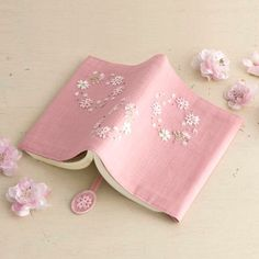 Embroidery on pink notebook cover Embroidery Bags, Japanese Embroidery, Modern Embroidery, Silk Ribbon Embroidery, Cross Stitch Embroidery, Embroidery Patterns, Fabric Book Covers, Handmade Notebook, Brazilian Embroidery