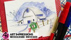 Ai Watercolor - Winter Barn
