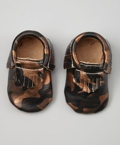 Loving this Khykouture Black & Gold Camo Fringe Leather Moccasin Booties on #zulily! #zulilyfinds