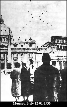 Italian specialist G.Stilo explained that this alleged photo case was first known when the Italian weekly L'Europeo released on February 3,1957, an interview with diplomat A. Perego, who had a nonphotographic UFO sighting in the Vatican. In order to better describe his visual observation he provided photomontages to this end . There were previous sighting by Perego over Santa Maria Maggiore's church (Rome) on October 30, 1954 and these were also published in the same way.