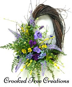 One Of A Kind Wreaths, Arrangements And Floral Decor by CrookedTreeCreation Wreaths For Front Door, Door Wreaths, Faux Flowers, Exotic Flowers, Purple Flowers, Pink Roses, Yellow Roses, Holiday Wreaths, Christmas Decorations
