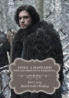 Jon Snow Game of Thrones Save the Date Geek Wedding