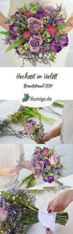 Brautstrauß in ultra violett selber binden - DIY-Anleitung. Ein einfacher Brautstrauß lässt sich mit wenigen Handgriffen günstig selber binden und sowohl für das Standesamt, als auch für die Kirche verwenden. Gestalte deine Hochzeit selbst mit frischen, selbst arrangierten Blumen! #schnittblumen #blumendeko #floristik #blumenstrauß #brautstrauß #hochzeitsdekoration #hochzeit #hochzeitsdeko #boho #vintage #tulpen #ranunkeln #ultraviolett #lila