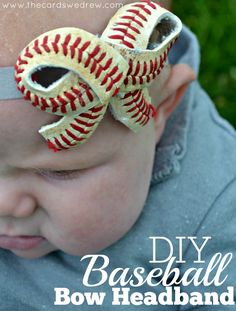 Cute and easy to make - DIY Baseball Bow Headband from The Cards We Drew