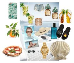 """""""Summer"""" by anne-lise-knoph on Polyvore featuring Sebastian Professional, Witchery, Banana Republic, Benson Mills, Avenue, Versace, Hollister Co., iSlide and beautifulhalo"""