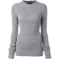 Tom Ford crew neck jumper (71,775 PHP) ❤ liked on Polyvore featuring tops, sweaters, grey, crew neck sweaters, gray crew neck sweater, grey sweater, cashmere sweater and pure cashmere sweaters