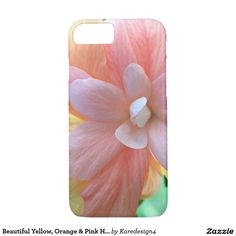 Beautiful Yellow, Orange & Pink Hibiscus Flower iPhone 7 Case