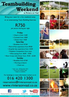 Team Building Weekend special at www.rivieraonvaal.co.za Team Building Exercises, Putt Putt, Weekends Away, Special Promotion, Bring It On, Entertaining, Fun, Miniature Golf, Funny