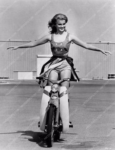 photo Ann-Margret leggy show-off on Vespa type scooter behind the scenes 1186-21