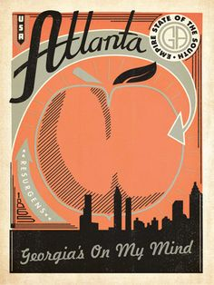 Awesome Atlanta print. $39. http://www.bourbonandboots.com/store/products/atlanta-georgia-peach/