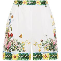 Dolce & Gabbana Printed cotton-poplin Bermuda shorts (£525) ❤ liked on Polyvore featuring shorts, skirts, pants, colorful shorts, multi colored shorts, flower shorts, dolce gabbana shorts and tailored shorts
