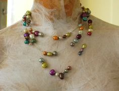 FUN for spring; 60 inch colorful freshwater pearl Necklace by isajul