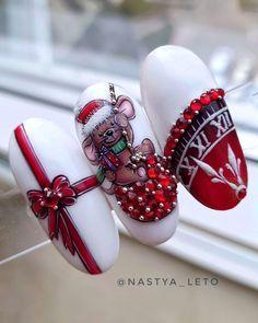 Nail Art Noel, Cute Christmas Nails, Xmas Nails, New Year's Nails, Christmas Nail Art, Love Nails, Christmas Gifts, Acrylic Nail Designs, Nail Art Designs