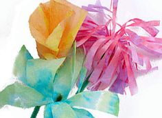 Kids love coffee filter crafts to watch the colors run and diffuse.  Don't have watercolors?  Markers are great, and then just lightly spray the filter to achieve cool patterns for the flowers.