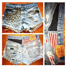 Studded Flag Shorts by DistressedWithLove on Etsy