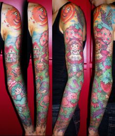 Oh I'm such a dork! Love this strawberry shortcake tattoo sleeve! Body Art Tattoos, New Tattoos, Sleeve Tattoos, Tatoos, Vegetable Tattoo, Strawberry Tattoo, Candy Tattoo, Bright Tattoos, Future Tattoos
