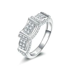 Women Wedding Rings Silver Plated Crossover CZ Personalized Rings Custom Made Size 85 by Aienid ** Check this awesome product by going to the link at the image.
