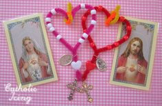 Catholic Icing - Craft Sacred and Immaculate Heart chaplets! Great craft for Catholic kids.