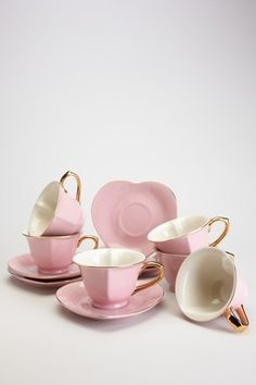 Heart tea cups and saucers