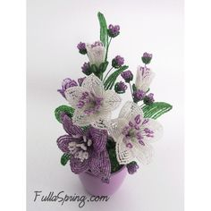 Variegated Purple White Lilies with Red Clover (Purple) French Beaded Flowers Arrangement
