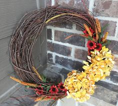 18 Fall Grapevine Hydrangea Wreath Yellow Gold and Red Hydrangea Wreath, Different Holidays, Fall Is Here, White Peonies, Fall Wreaths, Red Flowers, Grapevine Wreath, Handmade Crafts, Grape Vines