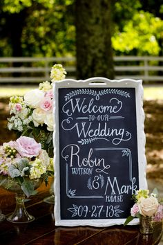 Hand-drawn chalkboard sign for wedding welcome table
