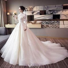 Chic / Beautiful Champagne Wedding Dresses 2018 Ball Gown Lace Appliques High Neck Backless Long Sleeve Cathedral Train Wedding - About Wedding Western Wedding Dresses, Princess Wedding Dresses, Modest Wedding Dresses, Bridal Dresses, Wedding Gowns, Wedding Hijab, Backless Wedding, Wedding Venues, Bridesmaid Dresses