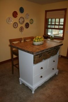baby changing table turned into kitchen island