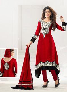 #Crimson Chiffon & Jacquard #Anarkali Suit