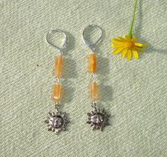 Sun Shine Charms and Gemstone Dangle Earrings - Spring Jewelry