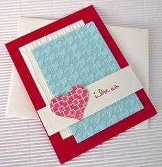 Valentine, Valentines, Handmade Love Card, Embossing Folder, Heart Punch
