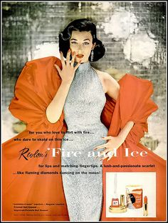"""Dorian Leigh in iconic """"Fire and Ice"""" Revlon ad, photo by Richard Avedon, costume by Bovè of Rose Schogel, ring by John P. John, 1952"""