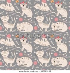 Funny seamless pattern with cute cats. Vector texture great for childish cloth design, wallpaper, textile, wrapping and other pattern fills