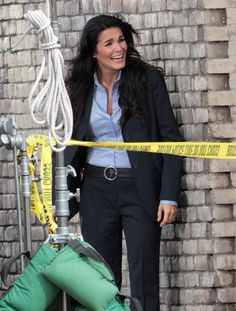"Angie Harmon Photos - ""Rizzoli & Isles"" actressess Angie Harmon and Sasha Alexander share a laugh and a joke on the set of a TNT Network Promo filming in Los Angeles, CA on March 5, 2012. - Angie Harmon Filming A TNT Network Promo"
