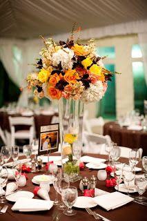 Peach and chocolate wedding decor
