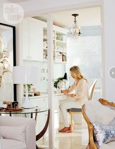 white home office, touches of gold