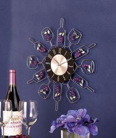 Wine Bottle Wall Clock Vineyard Themed Kitchen Home Decor