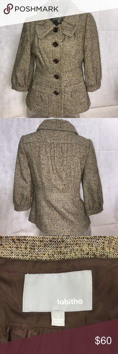 EUC Anthropologie Tweed Wool blend jacket S Excellent used condition! No signs of use!!! This tabitha for Anthropologie jacket is just perfect! So feminine and elegant, 3/4 Sleeve, Tweed like, is just stunning!!! Size S Anthropologie Jackets & Coats Blazers