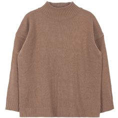 Loose Mock Neck Knit Sweater ($19) ❤ liked on Polyvore featuring tops, sweaters, shirts, loose shirts, loose fitting shirts, loose sweater, brown shirts and loose fitting sweaters