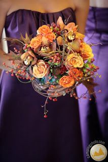 This gives me a good idea... pulm dresses, cranberry, orange & yellow flowers?