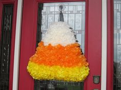 coffee filter candy corn wreath