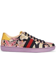 Gucci - Ace Metallic Leather-trimmed Brocade Sneakers - Lilac - IT