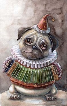 One of the most gorgeous Pugs in the World ! Pug Cartoon, Old Pug, Cute Pugs, Funny Pugs, Pug Art, Pug Pictures, Animal Sketches, Dog Paintings, Pug Love