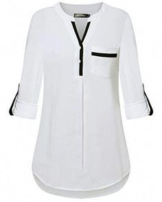 Shop the latest collection of DILISHA Women's Henley V Neck Rayon Blouses Cuffed Sleeve Casual Tunics Long Sleeve Shirt from the most popular stores - all in one place. Similar products are available. African Fashion Dresses, Fashion Outfits, Womens Fashion, Blouse Styles, Blouse Designs, Geile T-shirts, Women's Henley, Discount Designer Clothes, Tunic Tops