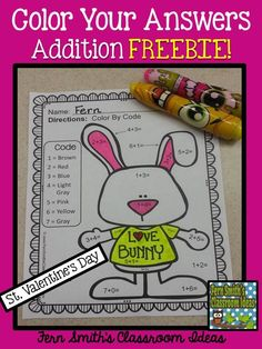 FREE Valentine's Day Fun! Basic Addition - Color Your Answers Printable This math resource includes: ONE printable and ONE answer key for numbers with a FUN St. Valentine's Day Bunny Theme! Perfect for Valentine's Day or Easter! #Free #Freebie #TPT