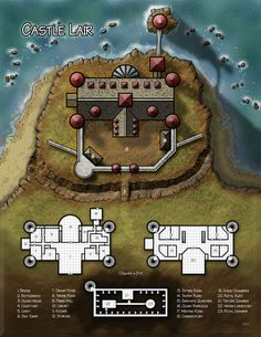 Kencyclopedia - Kender - Cartography -Portfolio Seaside lair in a mansion Fantasy Castle, Fantasy Map, Medieval Fantasy, Pathfinder Maps, Rpg Map, Pen & Paper, Building Map, Adventure Map, Pirate Adventure