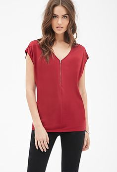 Oversized Zip-Front Top | Forever 21 Contemporary - 2000057453