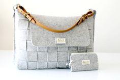 Messenger bag / bolso / bolso gris / fieltro de tejido por Lefrac